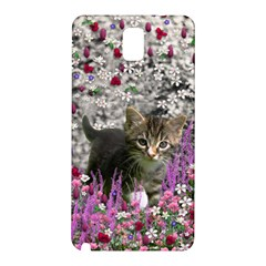 Emma In Flowers I, Little Gray Tabby Kitty Cat Samsung Galaxy Note 3 N9005 Hardshell Back Case by DianeClancy
