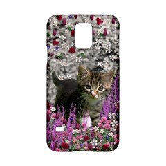Emma In Flowers I, Little Gray Tabby Kitty Cat Samsung Galaxy S5 Hardshell Case  by DianeClancy