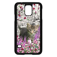 Emma In Flowers I, Little Gray Tabby Kitty Cat Samsung Galaxy S5 Case (black) by DianeClancy