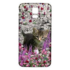 Emma In Flowers I, Little Gray Tabby Kitty Cat Samsung Galaxy S5 Back Case (white) by DianeClancy