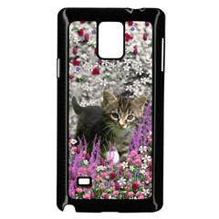 Emma In Flowers I, Little Gray Tabby Kitty Cat Samsung Galaxy Note 4 Case (black) by DianeClancy