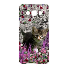 Emma In Flowers I, Little Gray Tabby Kitty Cat Samsung Galaxy A5 Hardshell Case  by DianeClancy