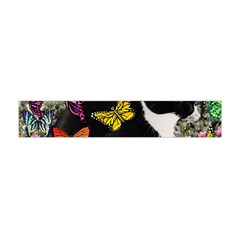 Freckles In Butterflies I, Black White Tux Cat Flano Scarf (mini) by DianeClancy