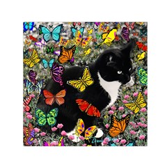 Freckles In Butterflies I, Black White Tux Cat Small Satin Scarf (square) by DianeClancy