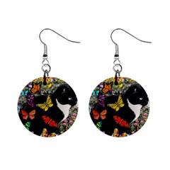 Freckles In Butterflies I, Black White Tux Cat Mini Button Earrings by DianeClancy