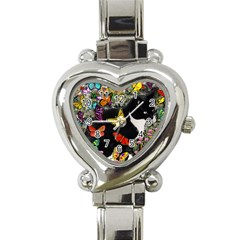 Freckles In Butterflies I, Black White Tux Cat Heart Italian Charm Watch by DianeClancy