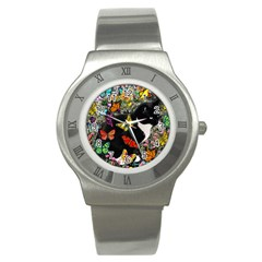 Freckles In Butterflies I, Black White Tux Cat Stainless Steel Watch by DianeClancy