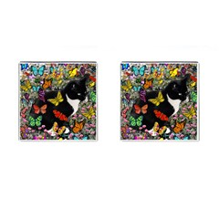 Freckles In Butterflies I, Black White Tux Cat Cufflinks (square) by DianeClancy