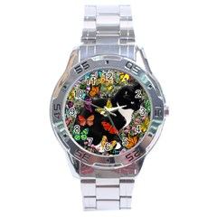 Freckles In Butterflies I, Black White Tux Cat Stainless Steel Analogue Watch by DianeClancy