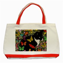 Freckles In Butterflies I, Black White Tux Cat Classic Tote Bag (red) by DianeClancy