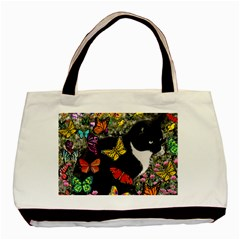 Freckles In Butterflies I, Black White Tux Cat Basic Tote Bag (two Sides) by DianeClancy