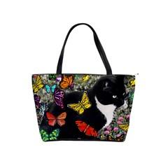 Freckles In Butterflies I, Black White Tux Cat Shoulder Handbags by DianeClancy