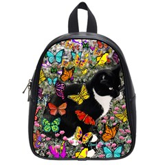 Freckles In Butterflies I, Black White Tux Cat School Bags (small)  by DianeClancy