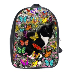 Freckles In Butterflies I, Black White Tux Cat School Bags (xl)  by DianeClancy