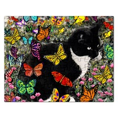 Freckles In Butterflies I, Black White Tux Cat Rectangular Jigsaw Puzzl by DianeClancy