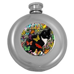 Freckles In Butterflies I, Black White Tux Cat Round Hip Flask (5 Oz) by DianeClancy