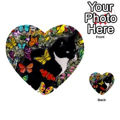 Freckles In Butterflies I, Black White Tux Cat Multi Purpose Cards (heart)  by DianeClancy