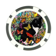 Freckles In Butterflies I, Black White Tux Cat Poker Chip Card Guards (10 Pack)  by DianeClancy