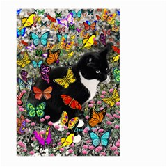 Freckles In Butterflies I, Black White Tux Cat Large Garden Flag (two Sides) by DianeClancy