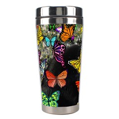 Freckles In Butterflies I, Black White Tux Cat Stainless Steel Travel Tumblers by DianeClancy