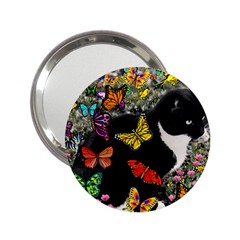 Freckles In Butterflies I, Black White Tux Cat 2 25  Handbag Mirrors by DianeClancy