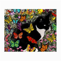 Freckles In Butterflies I, Black White Tux Cat Small Glasses Cloth by DianeClancy