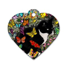 Freckles In Butterflies I, Black White Tux Cat Dog Tag Heart (one Side) by DianeClancy