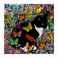Freckles In Butterflies I, Black White Tux Cat Medium Glasses Cloth (2 Side) by DianeClancy