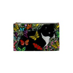 Freckles In Butterflies I, Black White Tux Cat Cosmetic Bag (small)  by DianeClancy