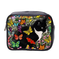 Freckles In Butterflies I, Black White Tux Cat Mini Toiletries Bag 2 Side by DianeClancy
