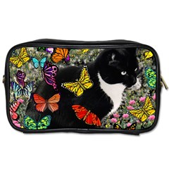 Freckles In Butterflies I, Black White Tux Cat Toiletries Bags 2 Side by DianeClancy