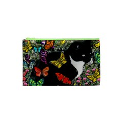 Freckles In Butterflies I, Black White Tux Cat Cosmetic Bag (xs) by DianeClancy