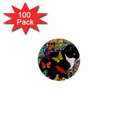 Freckles In Butterflies I, Black White Tux Cat 1  Mini Magnets (100 Pack)  by DianeClancy