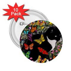 Freckles In Butterflies I, Black White Tux Cat 2 25  Buttons (10 Pack)  by DianeClancy