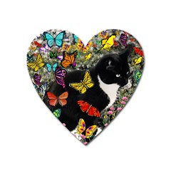Freckles In Butterflies I, Black White Tux Cat Heart Magnet by DianeClancy