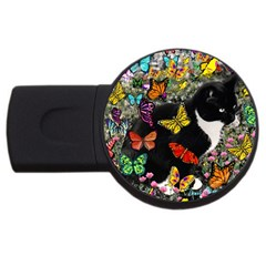 Freckles In Butterflies I, Black White Tux Cat Usb Flash Drive Round (2 Gb)  by DianeClancy