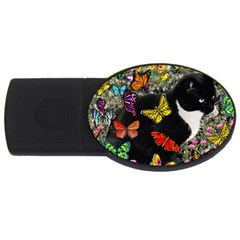 Freckles In Butterflies I, Black White Tux Cat Usb Flash Drive Oval (2 Gb)  by DianeClancy