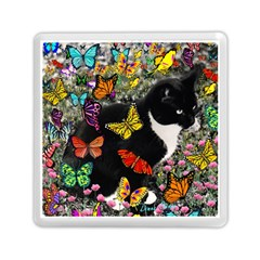 Freckles In Butterflies I, Black White Tux Cat Memory Card Reader (square)  by DianeClancy