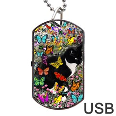 Freckles In Butterflies I, Black White Tux Cat Dog Tag Usb Flash (one Side) by DianeClancy