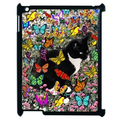 Freckles In Butterflies I, Black White Tux Cat Apple Ipad 2 Case (black) by DianeClancy
