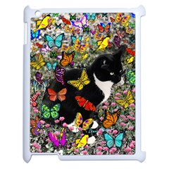Freckles In Butterflies I, Black White Tux Cat Apple Ipad 2 Case (white) by DianeClancy