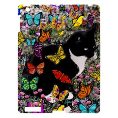 Freckles In Butterflies I, Black White Tux Cat Apple Ipad 3/4 Hardshell Case by DianeClancy