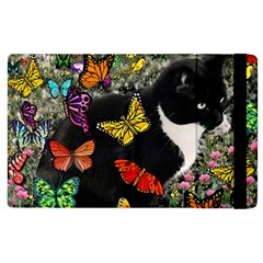 Freckles In Butterflies I, Black White Tux Cat Apple Ipad 3/4 Flip Case by DianeClancy