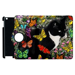Freckles In Butterflies I, Black White Tux Cat Apple Ipad 3/4 Flip 360 Case by DianeClancy