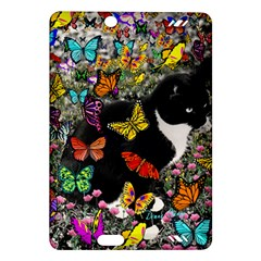 Freckles In Butterflies I, Black White Tux Cat Amazon Kindle Fire Hd (2013) Hardshell Case by DianeClancy