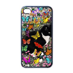 Freckles In Butterflies I, Black White Tux Cat Apple Iphone 4 Case (black) by DianeClancy
