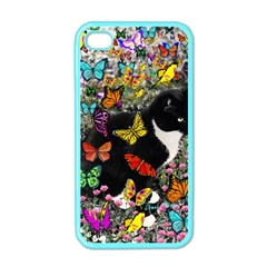 Freckles In Butterflies I, Black White Tux Cat Apple Iphone 4 Case (color) by DianeClancy