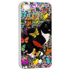 Freckles In Butterflies I, Black White Tux Cat Apple Iphone 4/4s Seamless Case (white) by DianeClancy