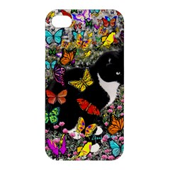 Freckles In Butterflies I, Black White Tux Cat Apple Iphone 4/4s Premium Hardshell Case by DianeClancy