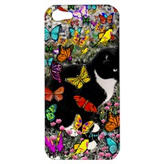 Freckles In Butterflies I, Black White Tux Cat Apple Iphone 5 Hardshell Case by DianeClancy
